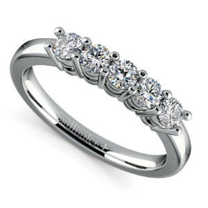 Five Diamond Wedding Ring in White Gold (1/2 ctw)