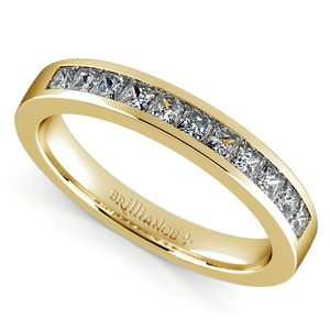 Princess Channel Diamond Wedding Ring in Yellow Gold (1/2 ctw)