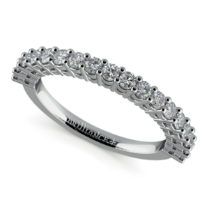 Shared Prong Diamond Wedding Ring in White Gold