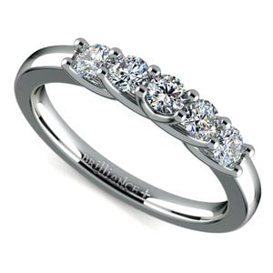 Trellis Five Diamond Wedding Ring in Platinum