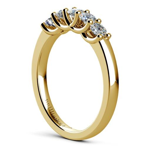 trellis five diamond wedding ring in yellow gold - Yellow Diamond Wedding Rings