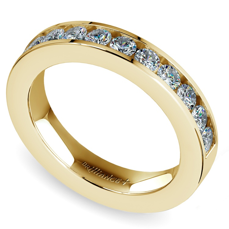 Channel Diamond Wedding Ring in Yellow Gold (1/2 ctw) | 01
