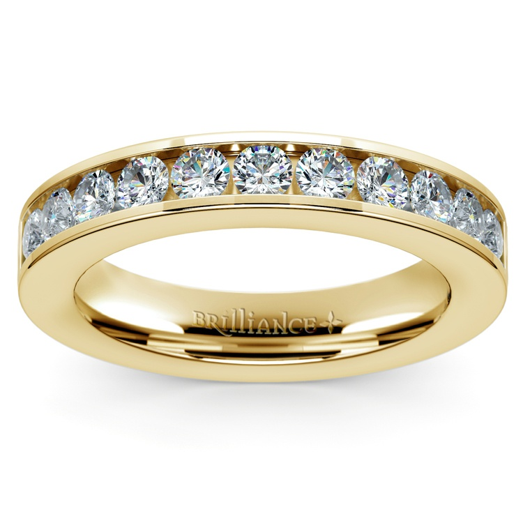 Channel Diamond Wedding Ring in Yellow Gold (1/2 ctw) | 02