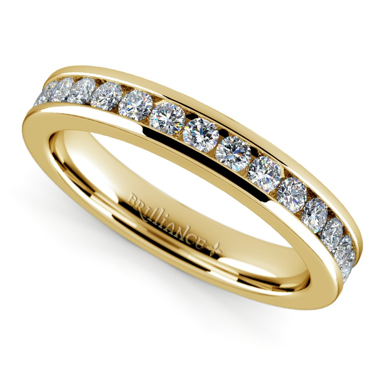 Channel Diamond Band in Yellow Gold (1/2 ctw) | 01