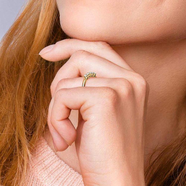 Five Diamond Wedding Ring in Yellow Gold (1/2 ctw) | 06