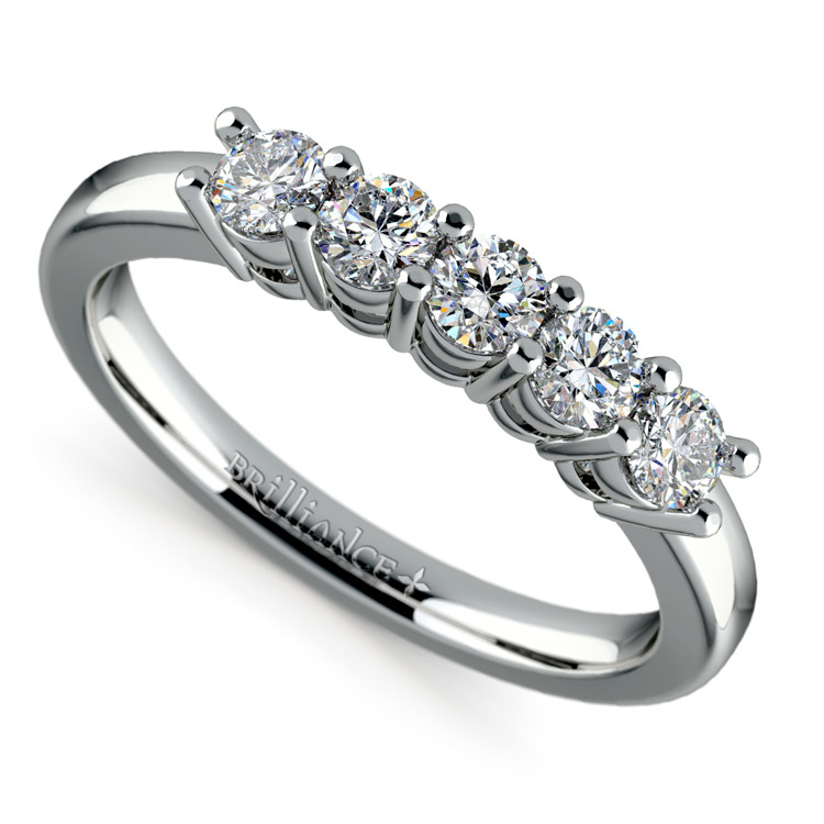 Five Diamond Wedding Ring in White Gold (1/2 ctw) | 01
