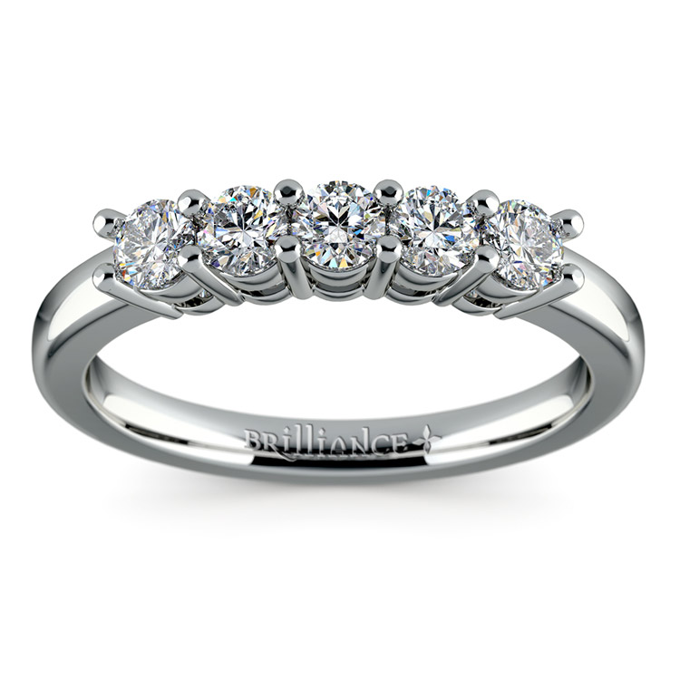 Five Diamond Wedding Ring in White Gold (1/2 ctw) | 02