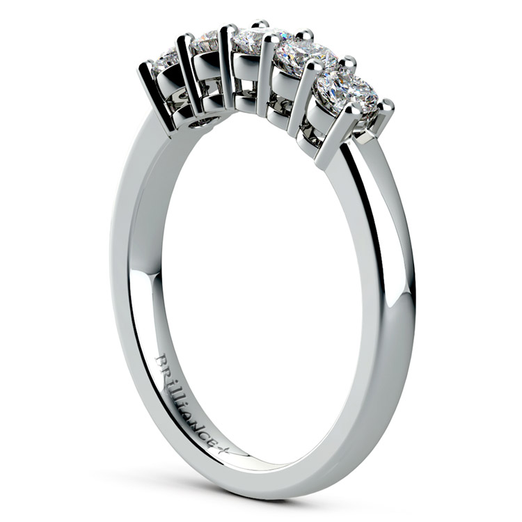Five Diamond Wedding Ring in White Gold (1/2 ctw) | 04