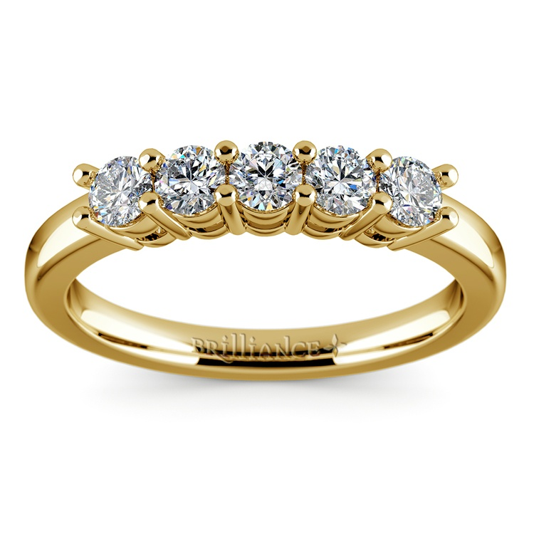 Five Diamond Wedding Ring in Yellow Gold (1/2 ctw) | 02