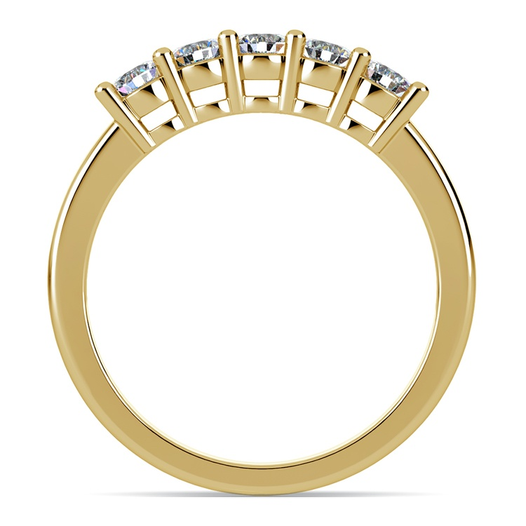 Five Diamond Wedding Ring in Yellow Gold (1/2 ctw) | 03