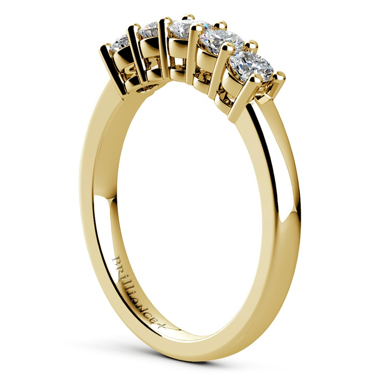 Five Diamond Wedding Ring in Yellow Gold (1/2 ctw) | 04
