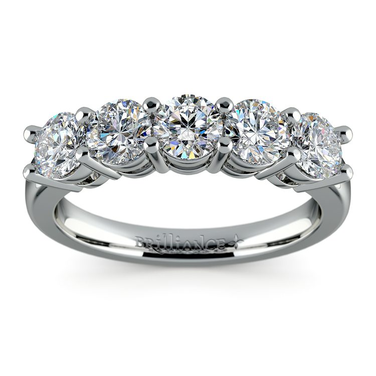Five Diamond Wedding Ring in White Gold (1 1/2 ctw) | 02