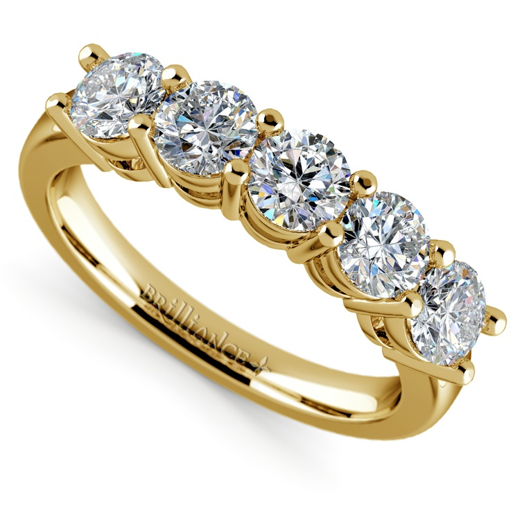 Five Diamond Wedding Ring in Yellow Gold (1 1/2 ctw) | 01