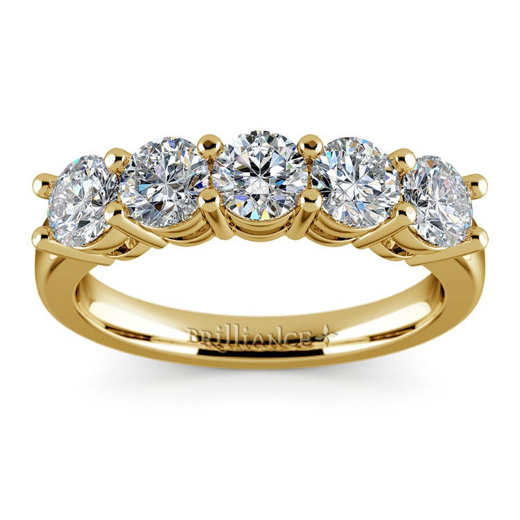 Five Diamond Wedding Ring in Yellow Gold (1 1/2 ctw) | 02
