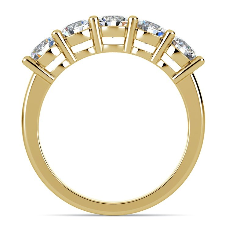 Five Diamond Wedding Ring in Yellow Gold (1 1/2 ctw) | 03
