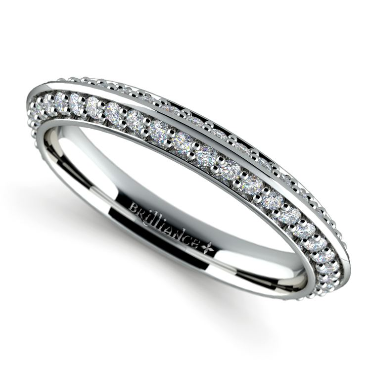 Knife Edge Diamond Wedding Ring in White Gold (1/2 ctw) | 01