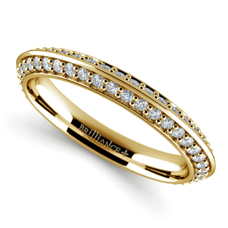 Knife Edge Diamond Wedding Ring in Yellow Gold (1/2 ctw) | 01