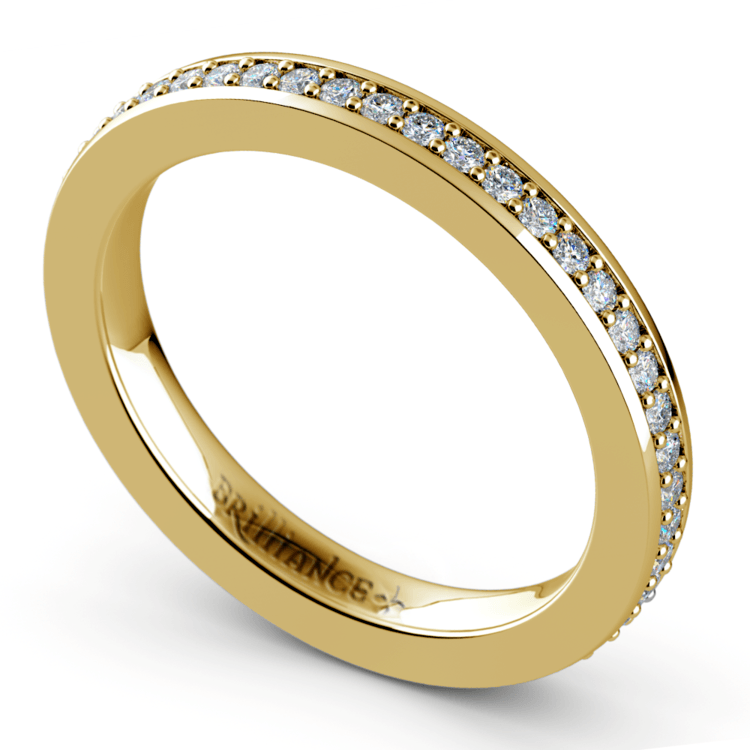 Pave Diamond Eternity Ring in Yellow Gold (1/2 ctw) | 01