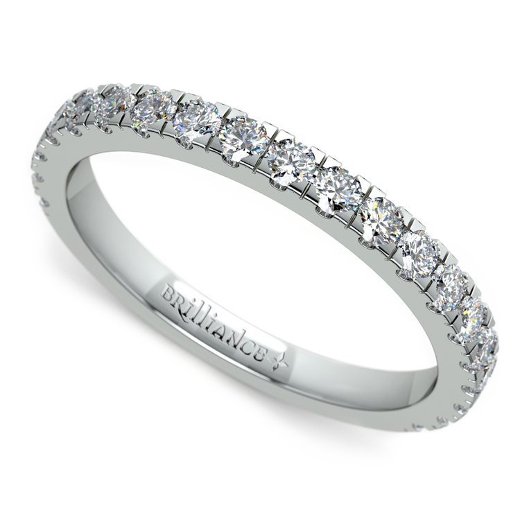 Petite Pave Diamond Wedding Ring in Platinum | 01