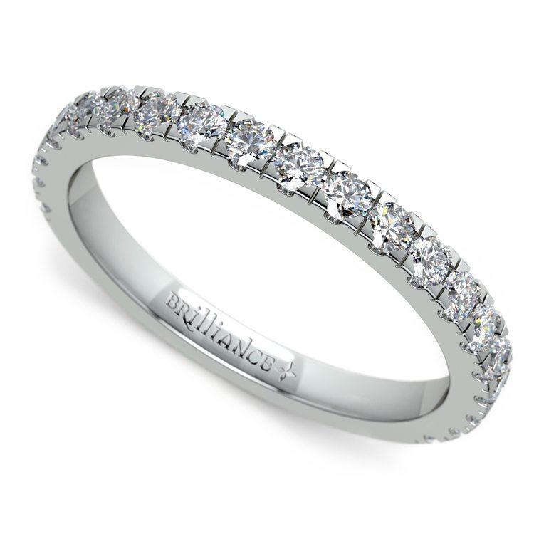 Petite Pave Diamond Wedding Ring in White Gold | 01