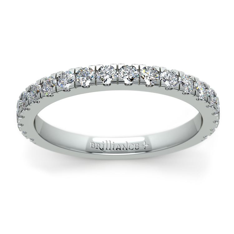 Petite Pave Diamond Wedding Ring in White Gold | 02
