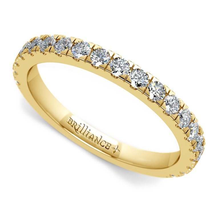 Petite Pave Diamond Wedding Ring in Yellow Gold | 01