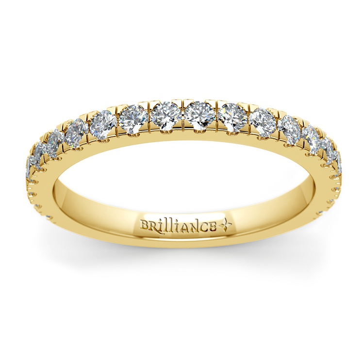 Petite Pave Diamond Wedding Ring in Yellow Gold | 02