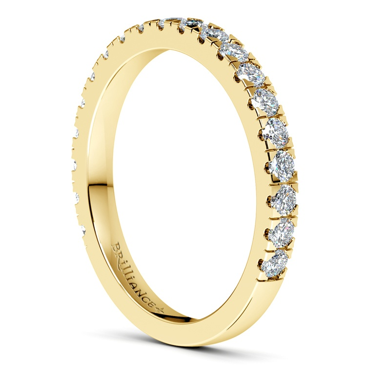 Petite Pave Diamond Wedding Ring in Yellow Gold | 05