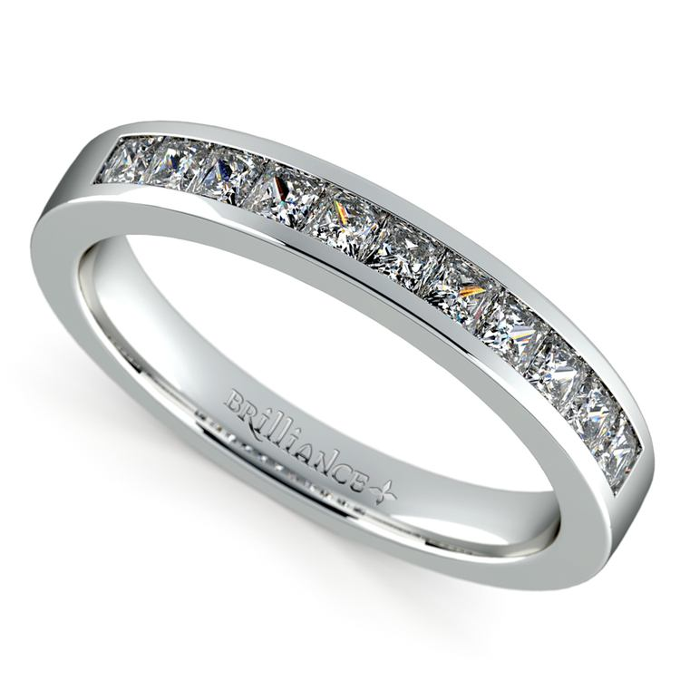 Princess Channel Diamond Wedding Ring in White Gold (1/2 ctw) | 01