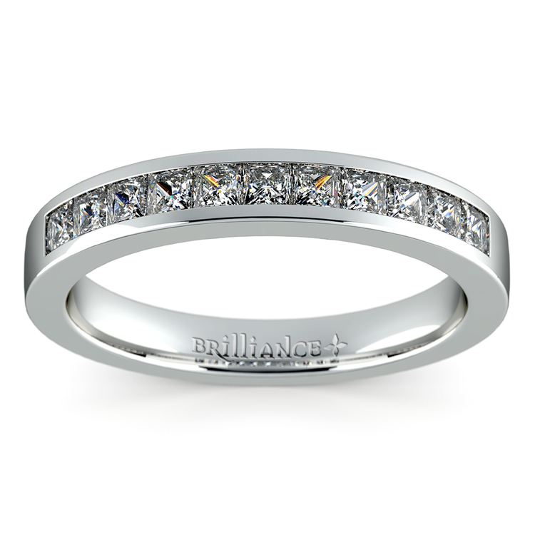 Princess Channel Diamond Wedding Ring in White Gold (1/2 ctw) | 02