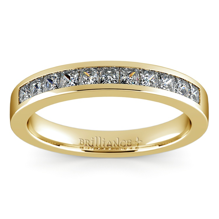 Princess Channel Diamond Wedding Ring in Yellow Gold (1/2 ctw) | 02