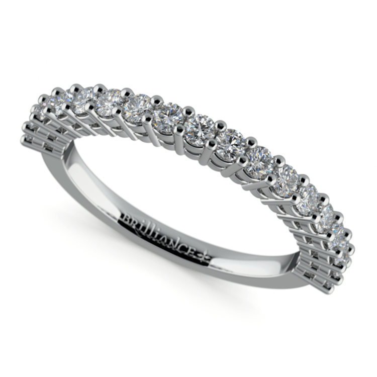 Shared Prong Diamond Wedding Ring in White Gold  | 01