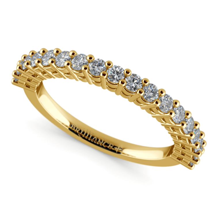 Shared Prong Diamond Wedding Ring in Yellow Gold | 01