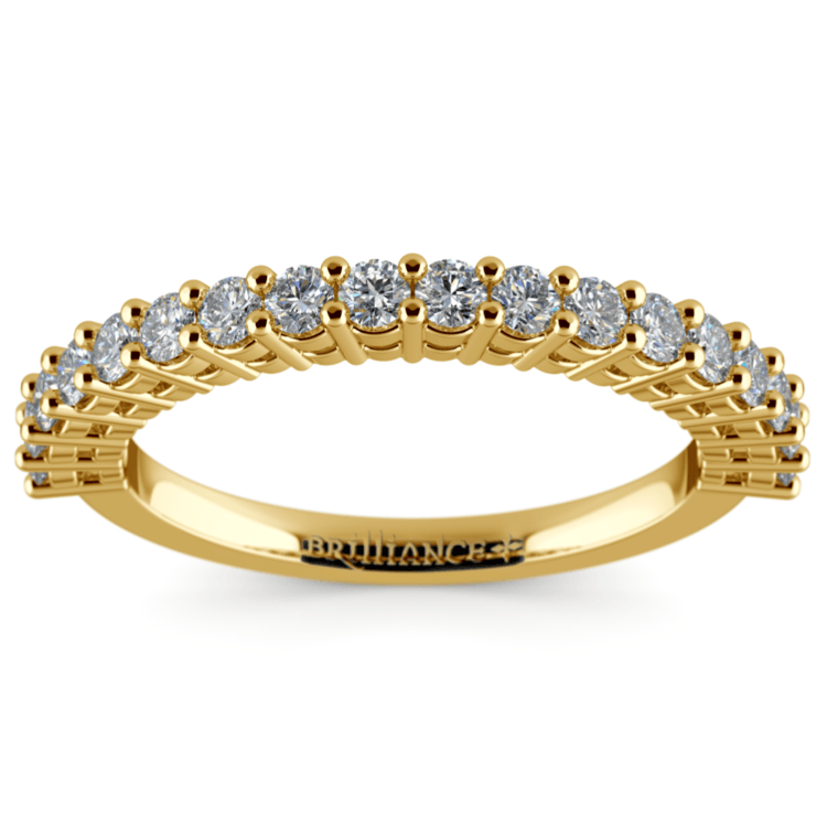 Shared Prong Diamond Wedding Ring in Yellow Gold | 02