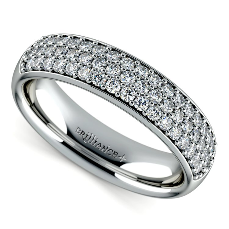 Three Row Pave Diamond Wedding Ring in White Gold | 01