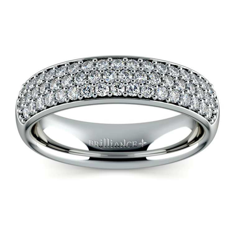 Three Row Pave Diamond Wedding Ring in White Gold | 02