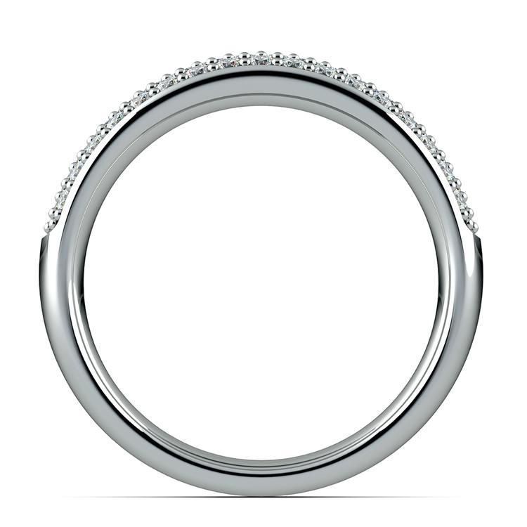 Three Row Pave Diamond Wedding Ring in White Gold   03