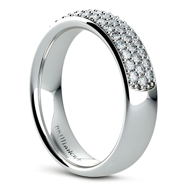 Three Row Pave Diamond Wedding Ring in White Gold | 04