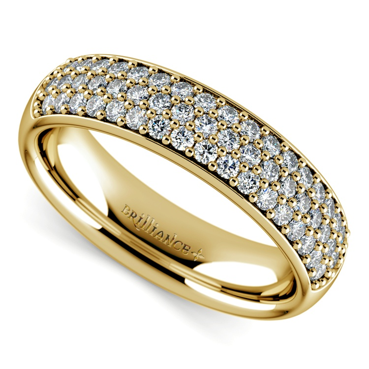 Three Row Pave Diamond Wedding Ring in Yellow Gold | 01