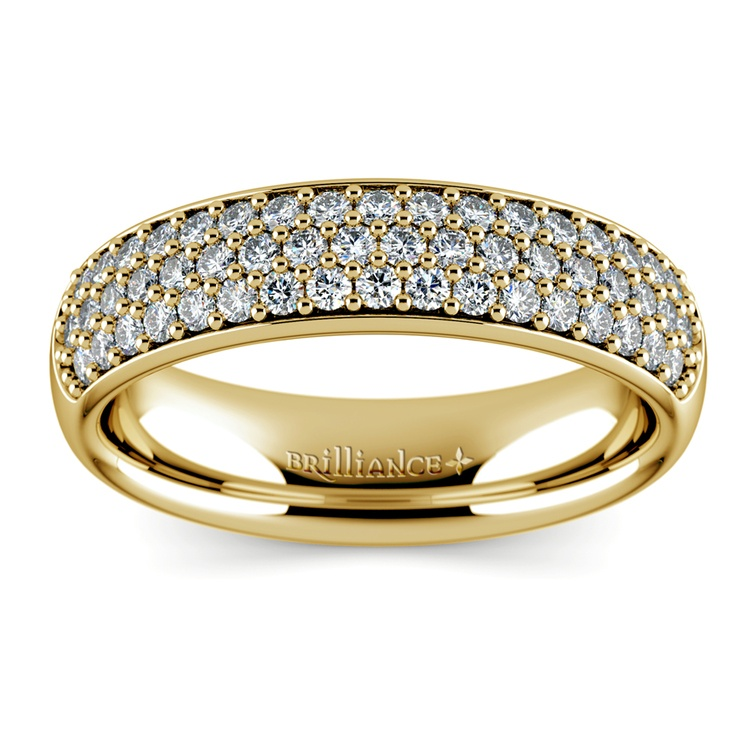 Three Row Pave Diamond Wedding Ring in Yellow Gold | 02