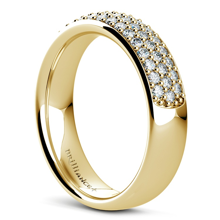 Three Row Pave Diamond Wedding Ring in Yellow Gold | 04