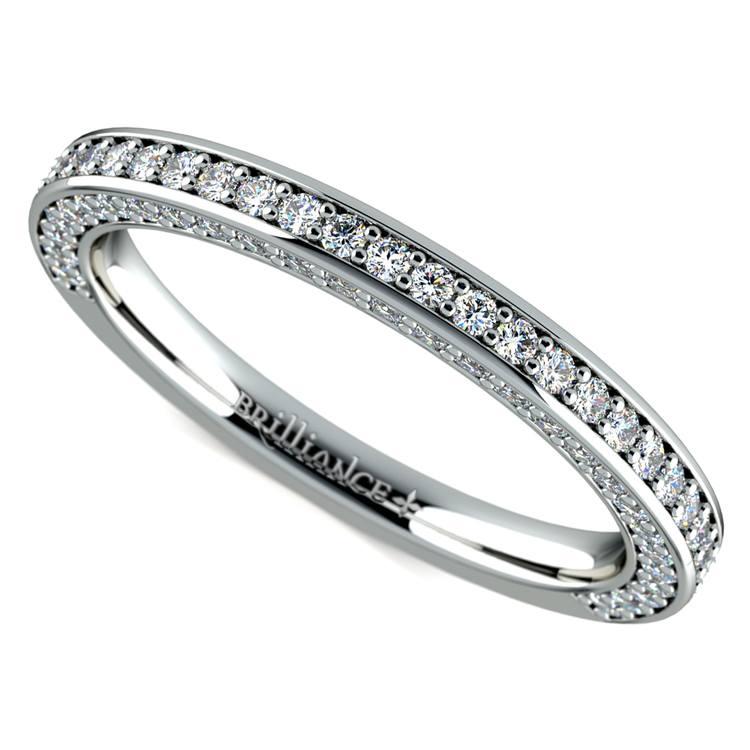 Three Sided Diamond Wedding Ring in White Gold 12 ctw