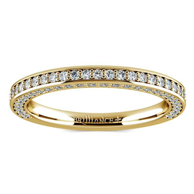 Three Sided Diamond Wedding Ring in Yellow Gold (1/2 ctw) | 02