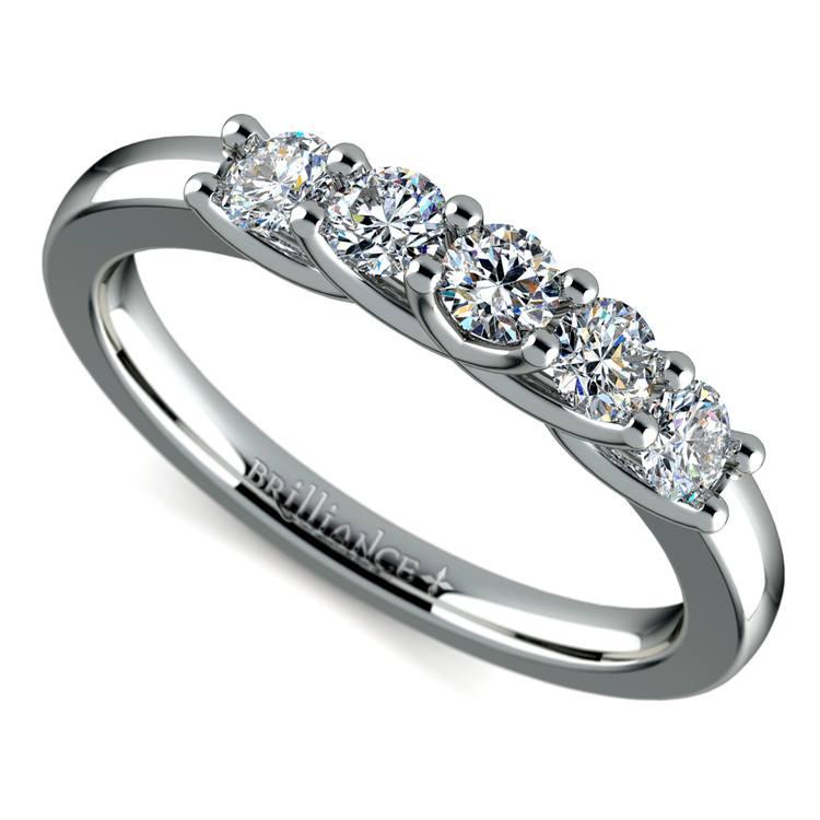 Trellis Five Diamond Wedding Ring in White Gold | 01