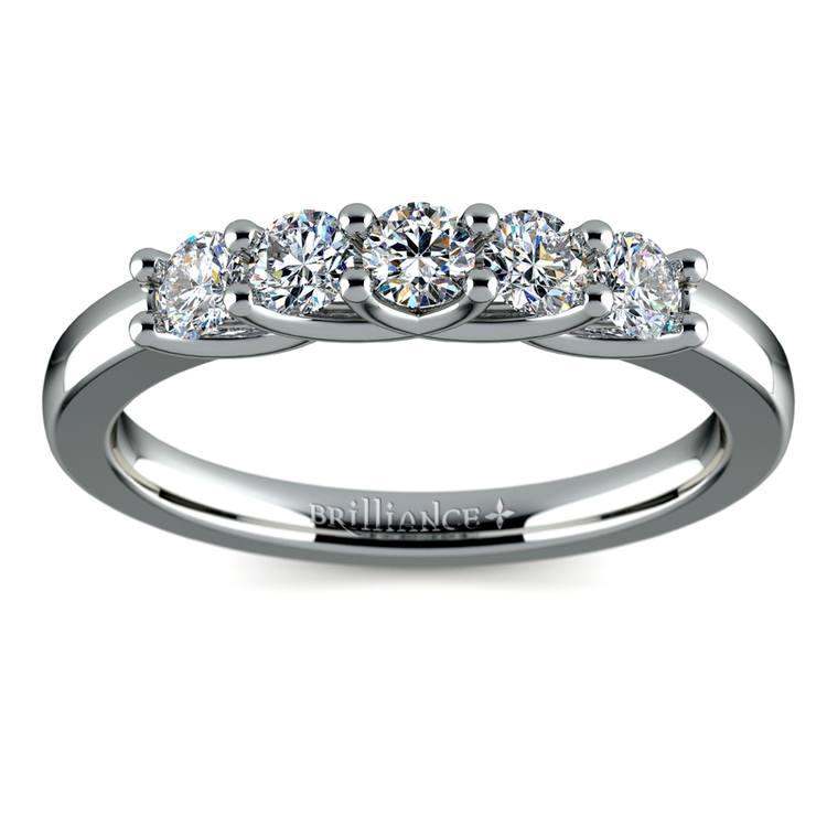 Trellis Five Diamond Wedding Ring in White Gold | 02