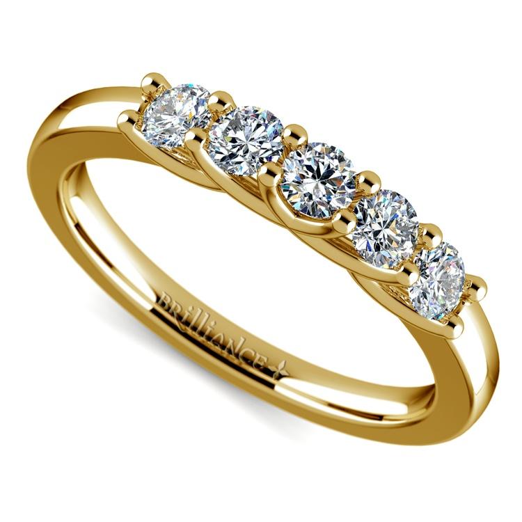 Trellis Five Diamond Wedding Ring in Yellow Gold | 01