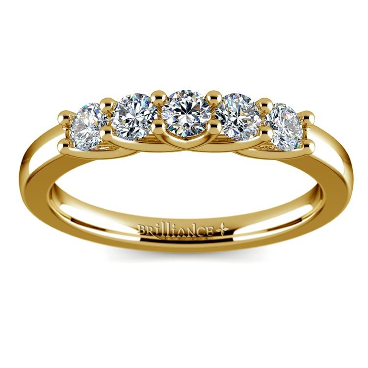 Trellis Five Diamond Wedding Ring in Yellow Gold | 02