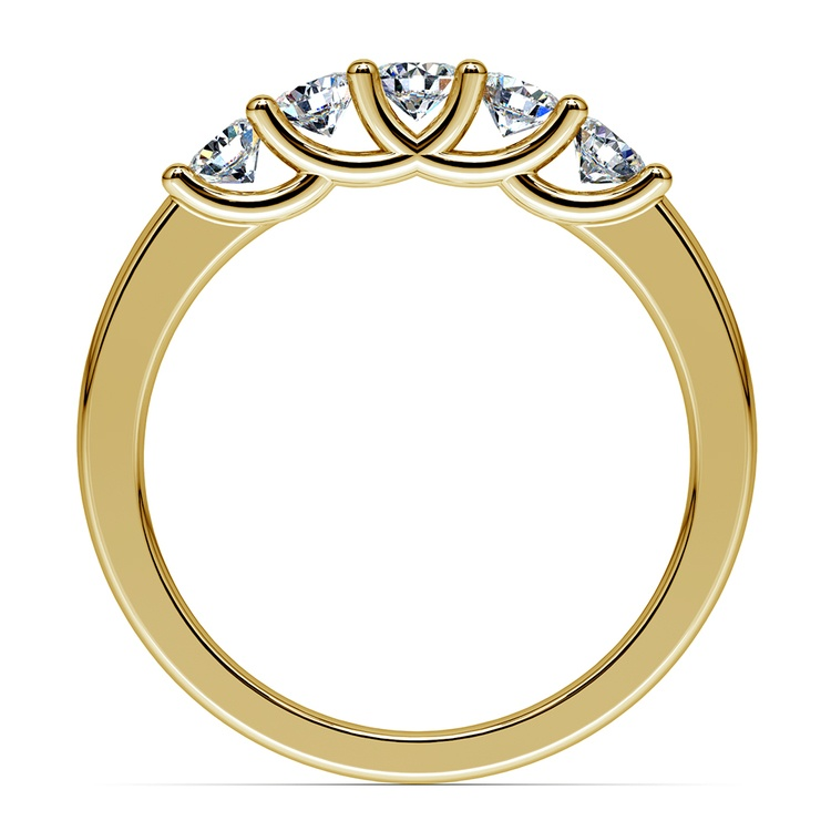 Trellis Five Diamond Wedding Ring in Yellow Gold | 03