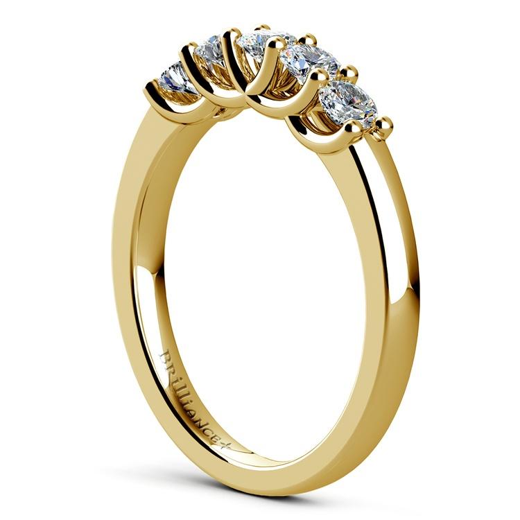 Trellis Five Diamond Wedding Ring in Yellow Gold | 04