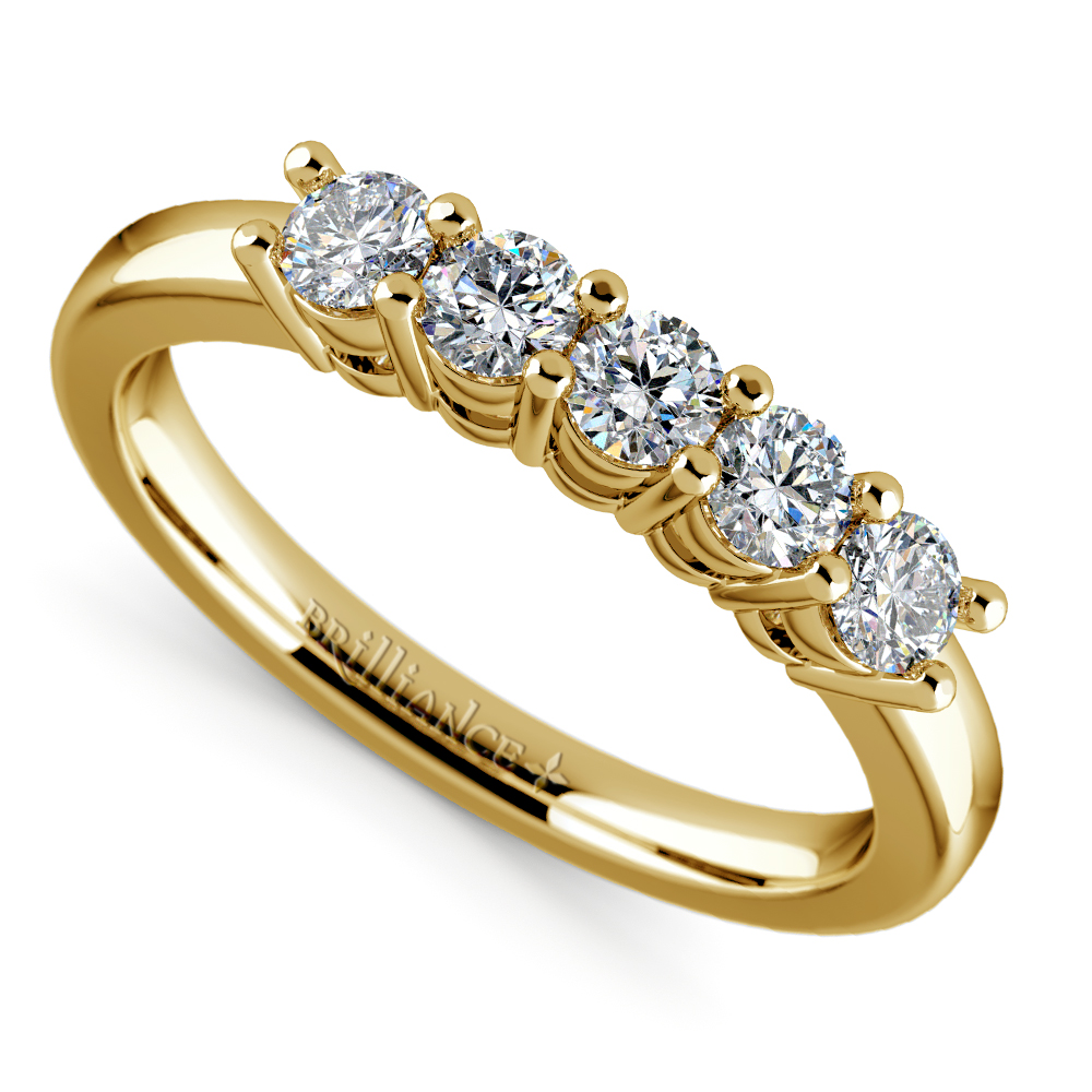 Five Diamond Wedding Ring In Yellow Gold 1 2 Ctw